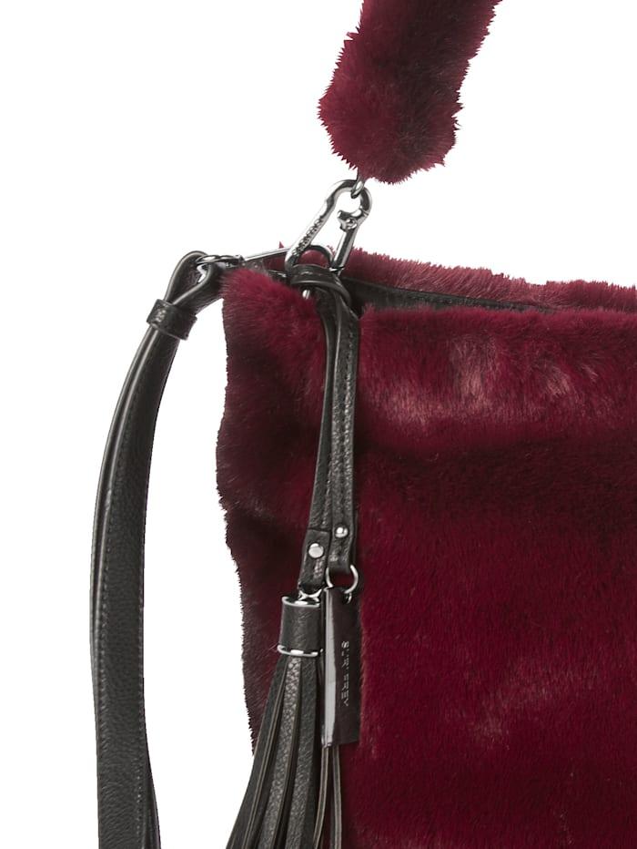 SURI FREY Handtasche in Felloptik, Bordeaux