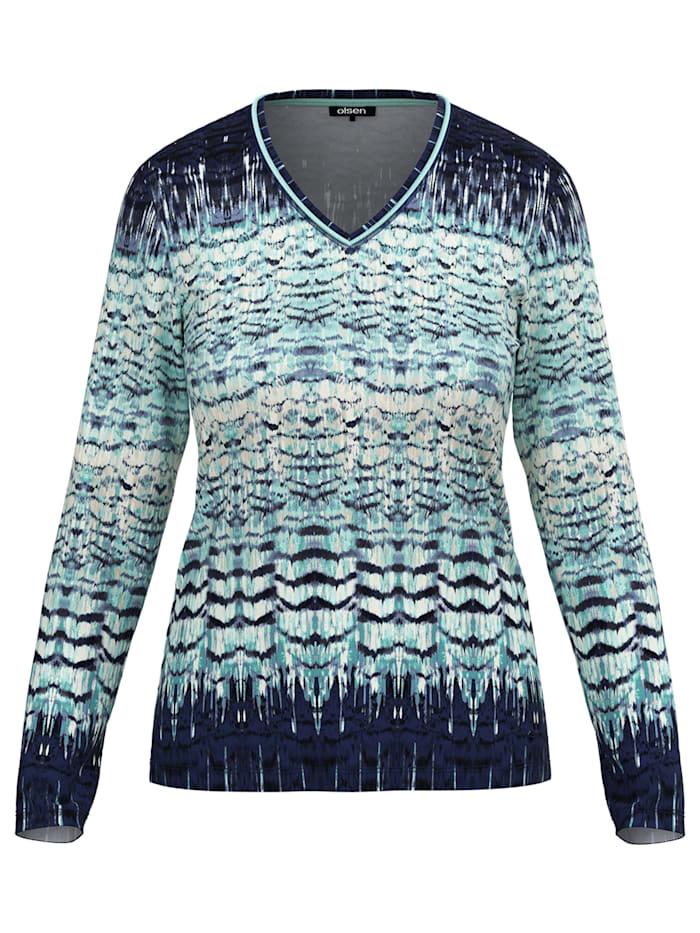 Olsen V-Shirt mit abstraktem Allover-Federprint, Winter Mint