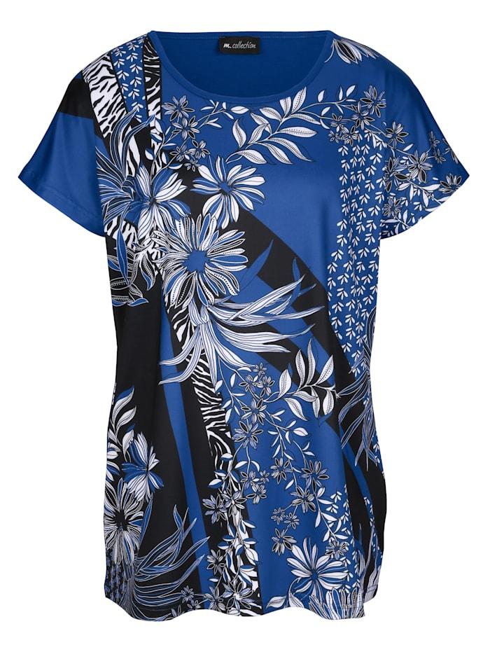 m. collection Shirt met print voor, Royal blue/Zwart/Wit