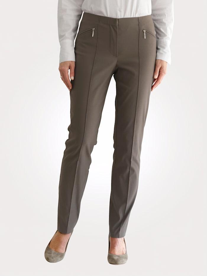 MONA Pantalon à poches zippées, Taupe