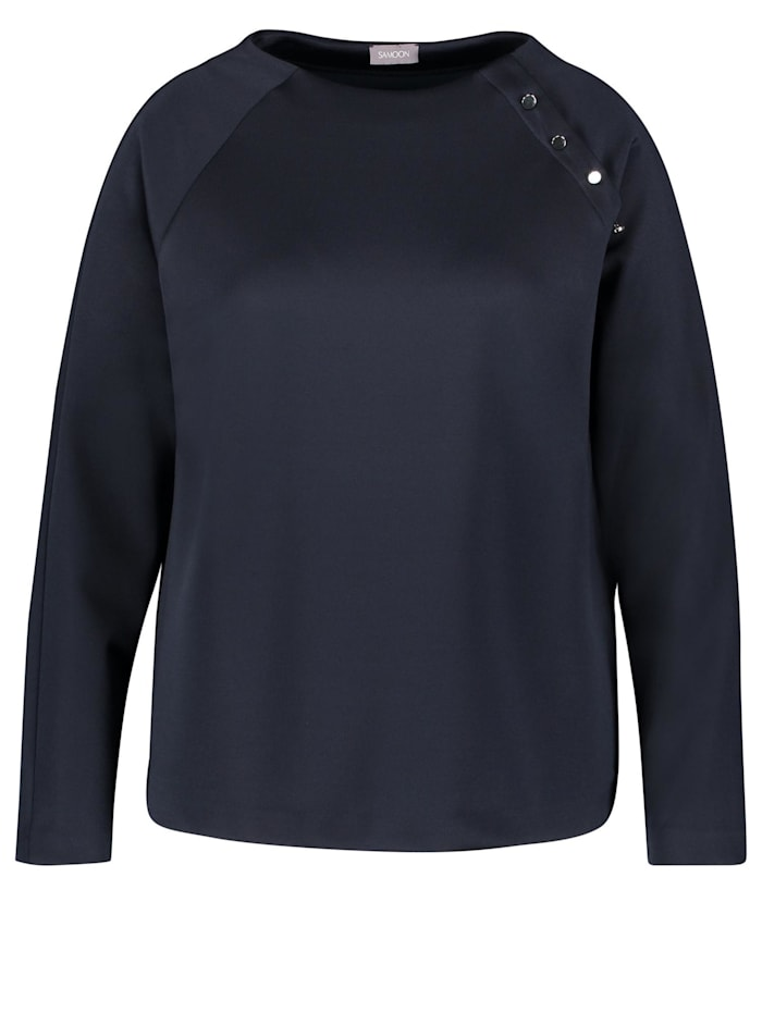 Samoon Sweatshirt mit Zierknopfleiste, Navy