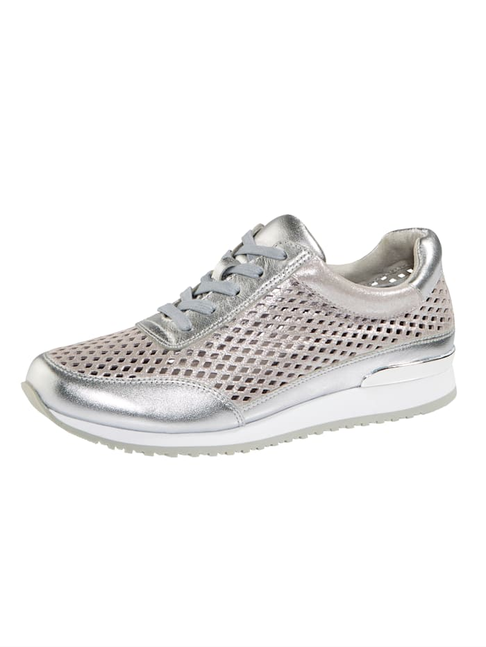 MONA Lace-up shoes in a breathable design, Silver-Coloured