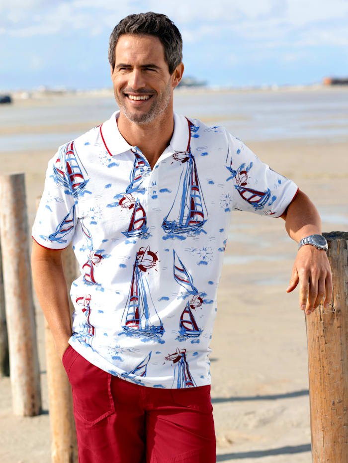 BABISTA Poloshirt met maritiem dessin, Wit