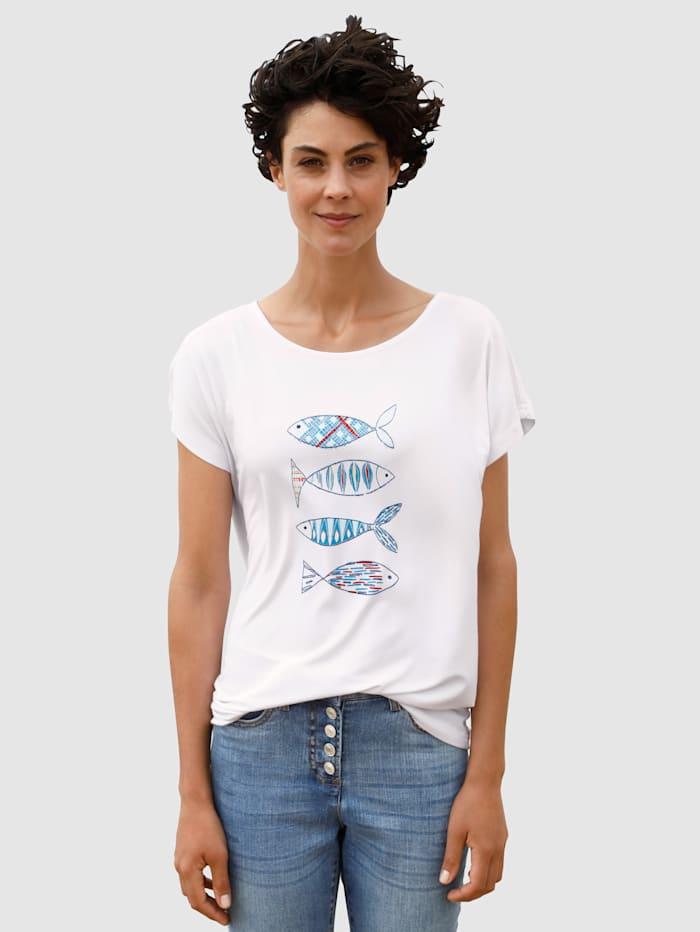 Dress In Shirt mit modernem Druck, Weiß