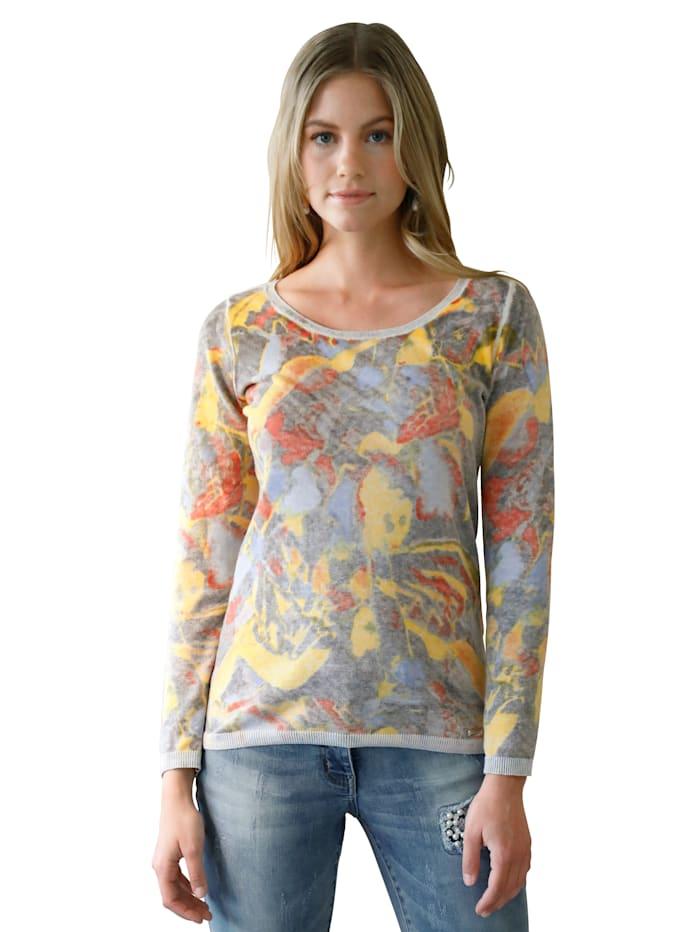 AMY VERMONT Pullover im Allover-Print, Grau/Multicolor