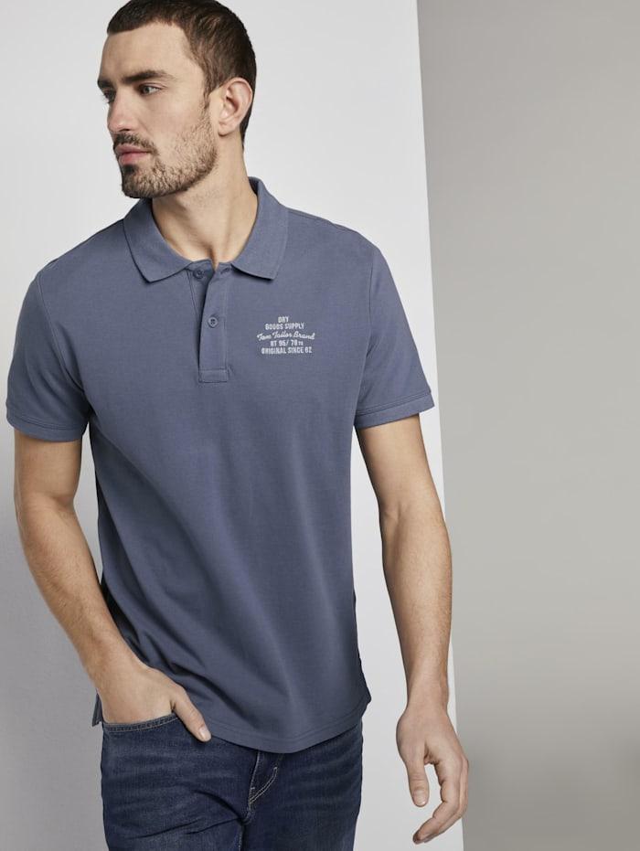 Tom Tailor Basic Poloshirt mit kleiner Stickerei, Vintage Indigo Blue