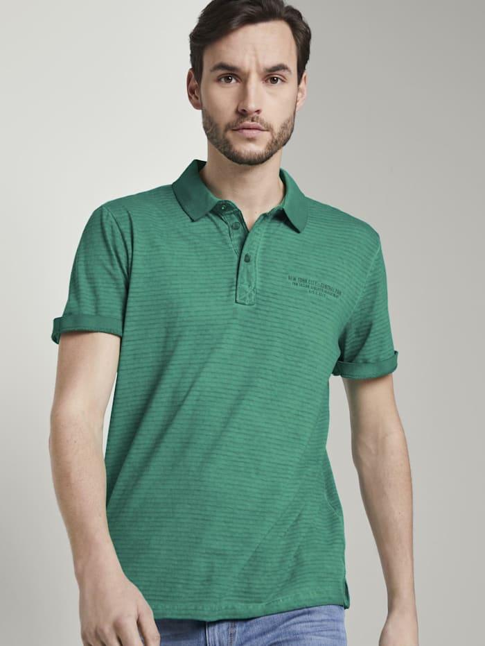 Tom Tailor Gestreiftes Poloshirt mit kleiner Stickerei, rich meadow green