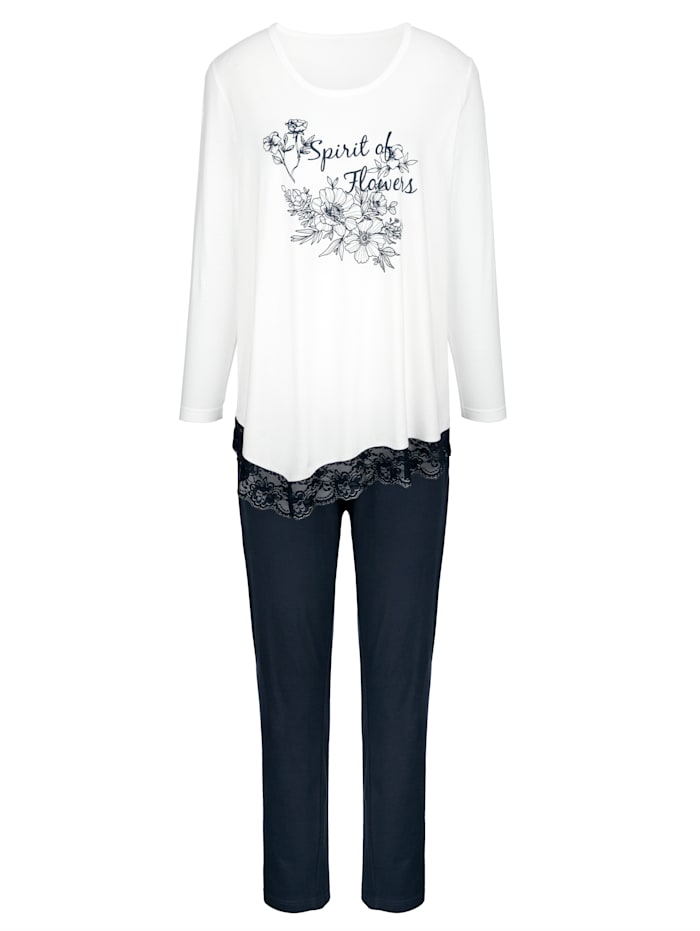Blue Moon Schlafanzug mit modischem Zickzacksaum, weiß/marine
