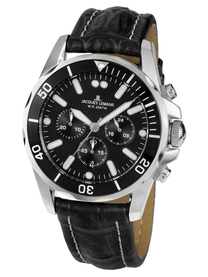 Jacques Lemans Herren-Chronograph Uhr Serie Liverpool 1-1907ZA, Schwarz
