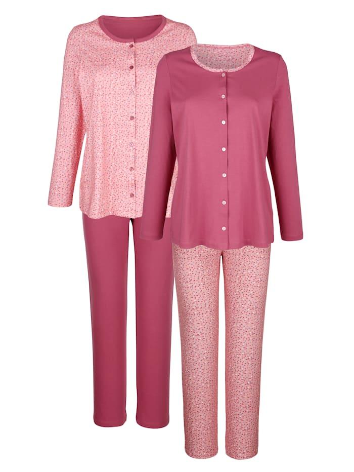 Blue Moon Pyjamas par lot de 2 à patte de boutonnage continue, Bois de rose/Saumon