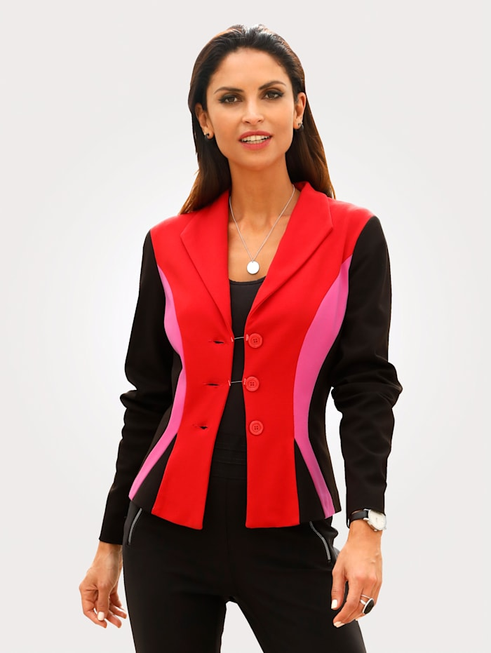 MONA Blazer made from soft jersey, Black/Red/Pink