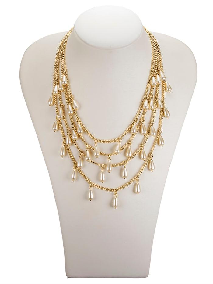KLiNGEL 4rhg. Halskette mit imit. Perlen, Weiß