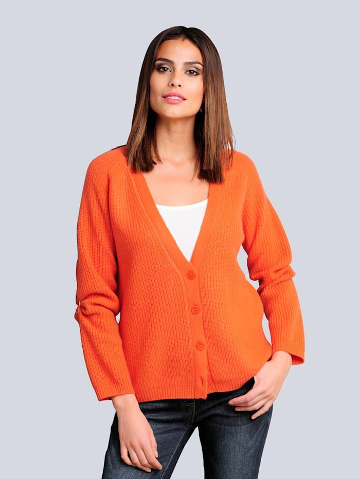 Alba Moda Strickjacke in reduzierter Oversized-Form, Orange