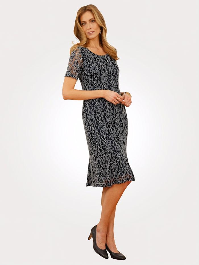 MONA Kanten jurk van elastisch materiaal, Marine/Ecru