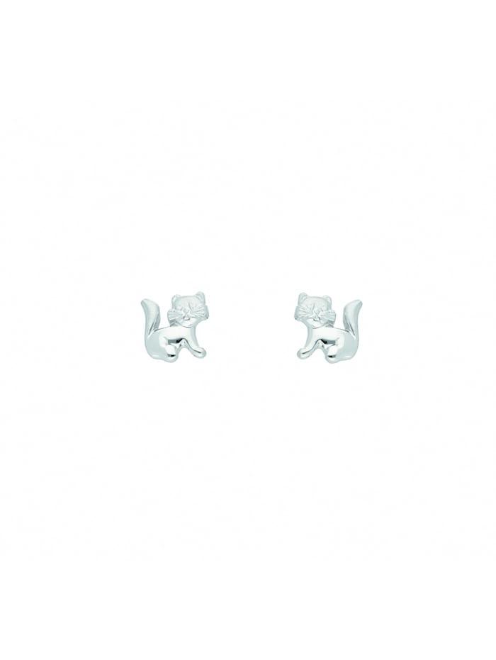 1001 Diamonds Damen Silberschmuck 925 Silber Ohrringe / Ohrstecker Katze, silber