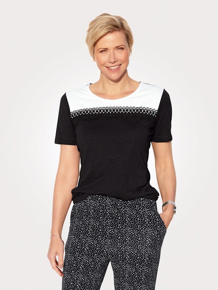 MONA Top made from pure cotton, Black/White