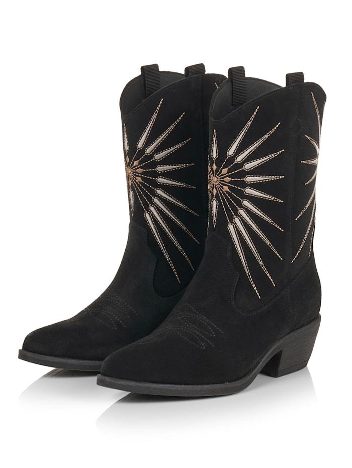 SIENNA Cowboy Boots, Schwarz