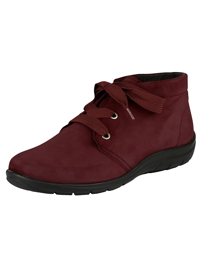 Naturläufer Lace-up Ankle boots made of soft leather, Bordeaux