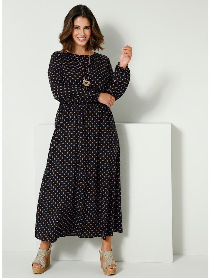 Sara Lindholm Maxi-jurk met plooitjes in de taille, Zwart/Zand