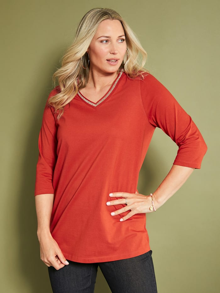 MIAMODA Shirt aus Bio-Baumwolle, Orange