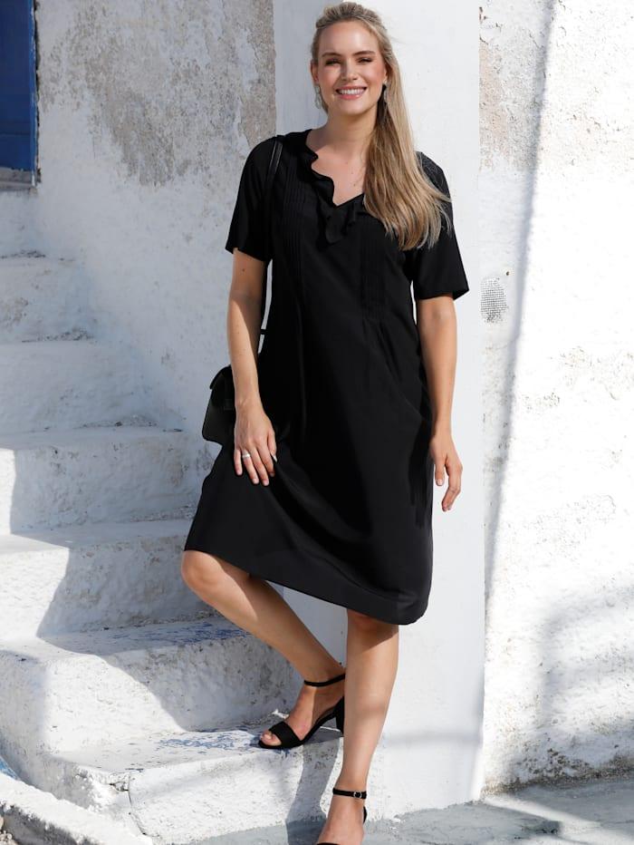 MIAMODA Kleid mit Volants am Ausschnitt, Schwarz