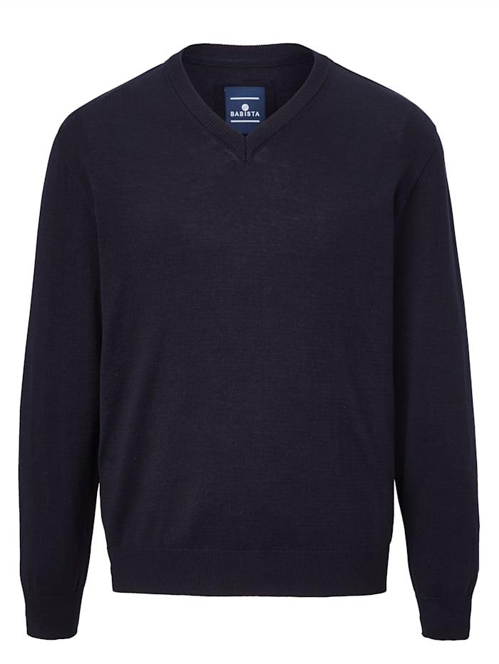 BABISTA Finstickad tröja i lättskött material av bomull och polyakryl, Marinblå