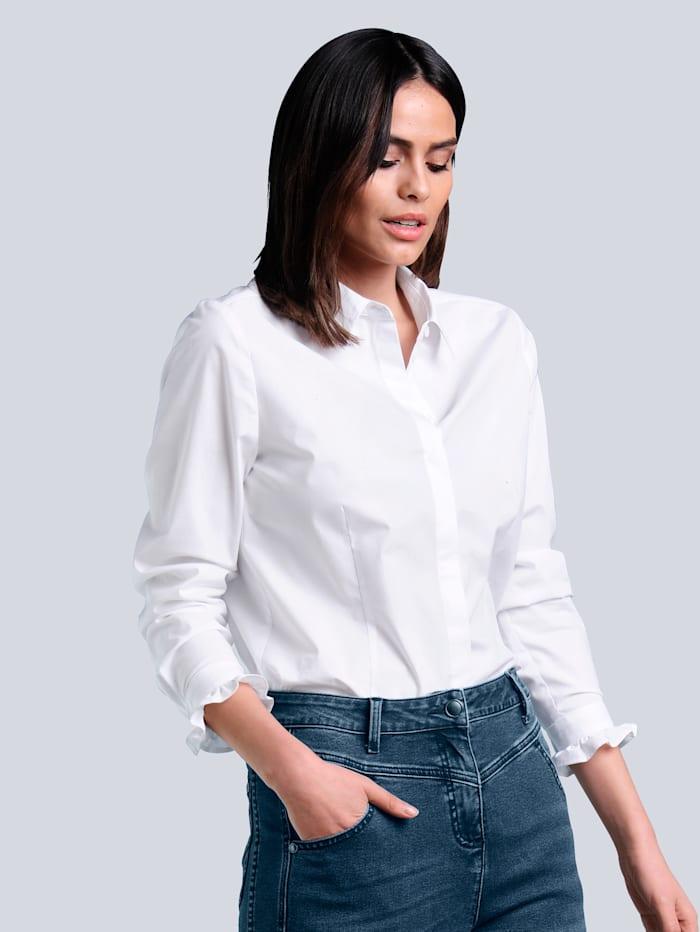 Alba Moda Bluse mit verdeckter Knopfleiste, Weiß