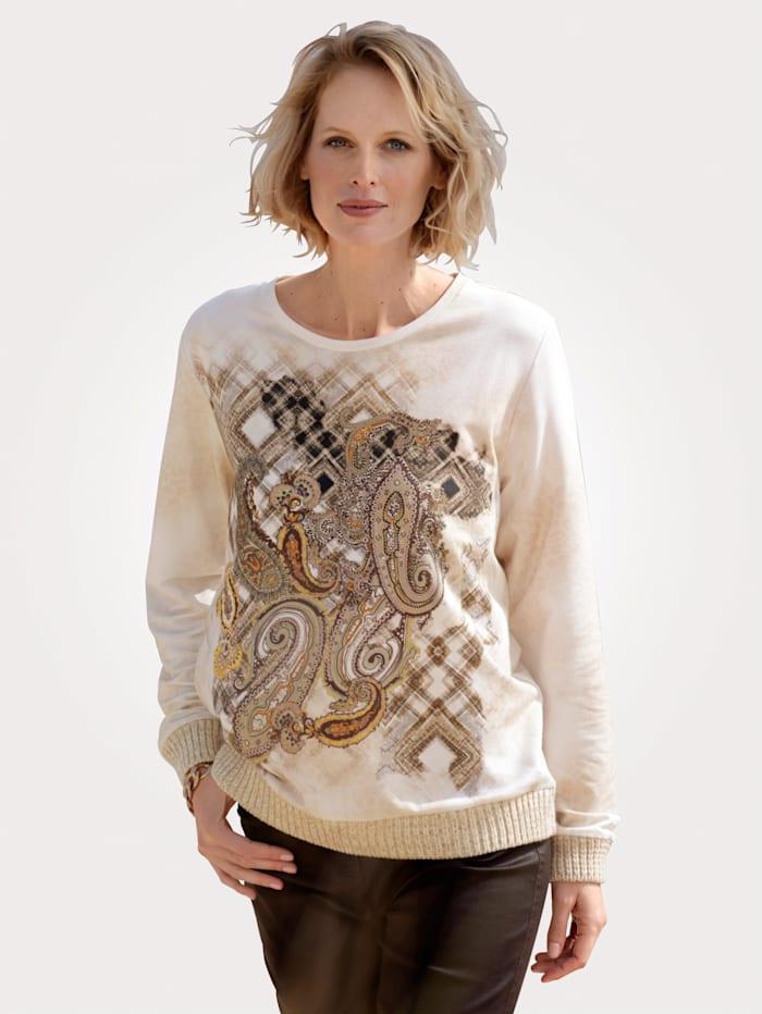 MONA Sweatshirt met paisleydessin, Ecru/Zand/Okergeel