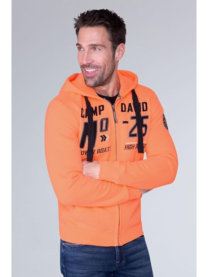 Camp David Hoodie Jacket mit Label-Applikationen, neon orange