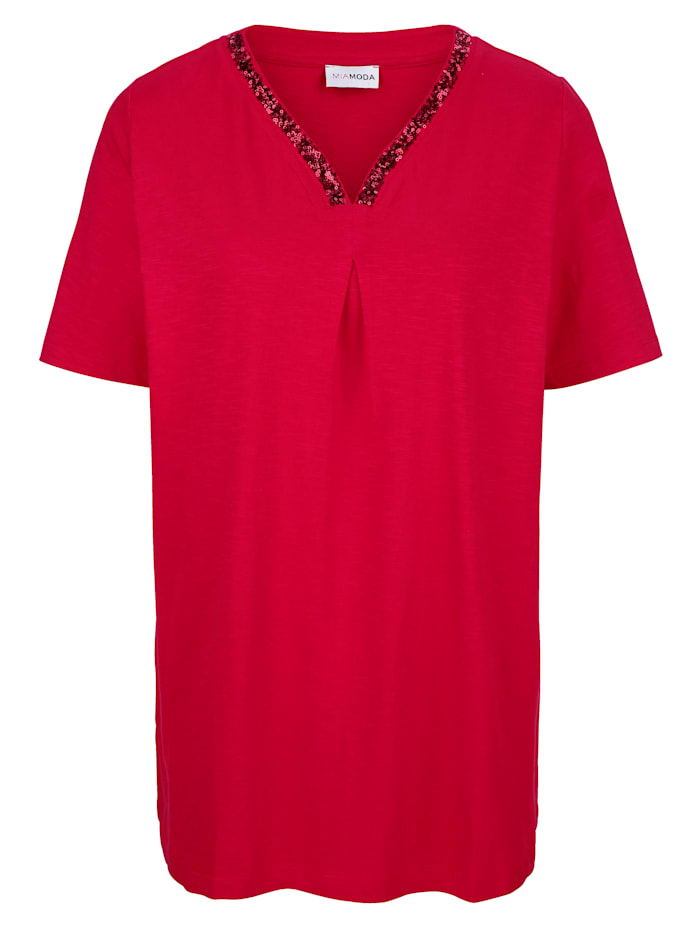 Shirt met pailletten aan de hals