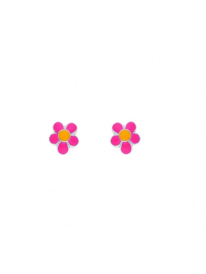1001 Diamonds Damen Silberschmuck 925 Silber Ohrringe / Ohrstecker Blüte - rosa, silber
