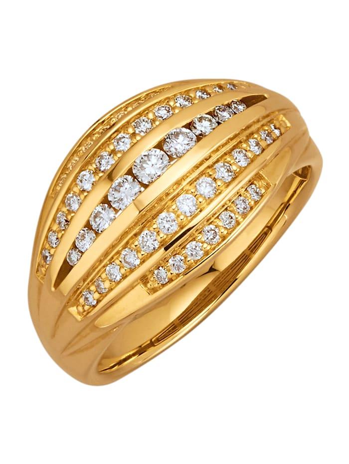 Diemer Diamant Damenring mit 49 Brillanten, Gelbgoldfarben