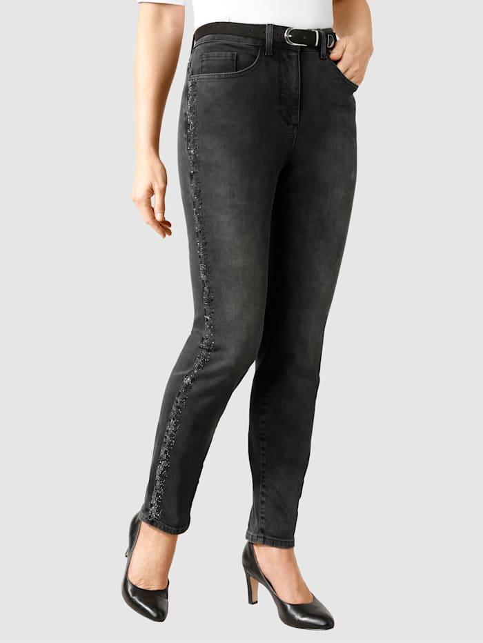 MONA Jeans mit funkelnden Ziersteinchen, Anthrazit