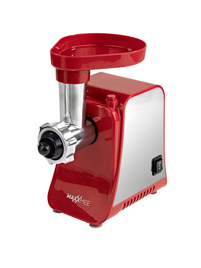 MAXXMEE Broyeur à viande électrique avec de nombreux accessoires, 1300 Watt, Rouge/Coloris argent