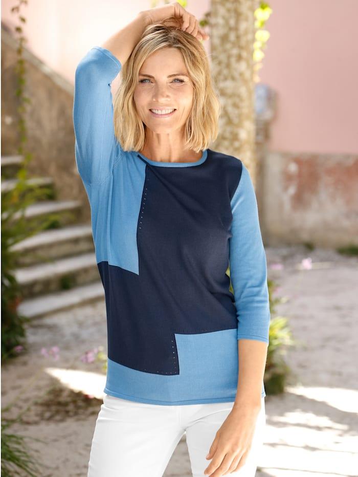 Paola Trui met color blocking, Blauw/Marine