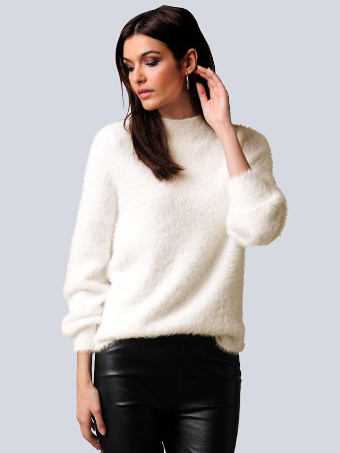 Alba Moda Pullover mit Flausch-Optik, Off-white