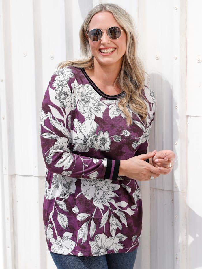 MIAMODA Shirt mit floralem Muster, Lila/Weiß