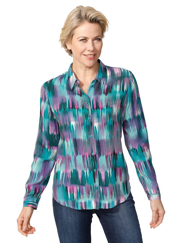 MONA Bluse aus reiner Viskose, Pink/Petrol/Weiß