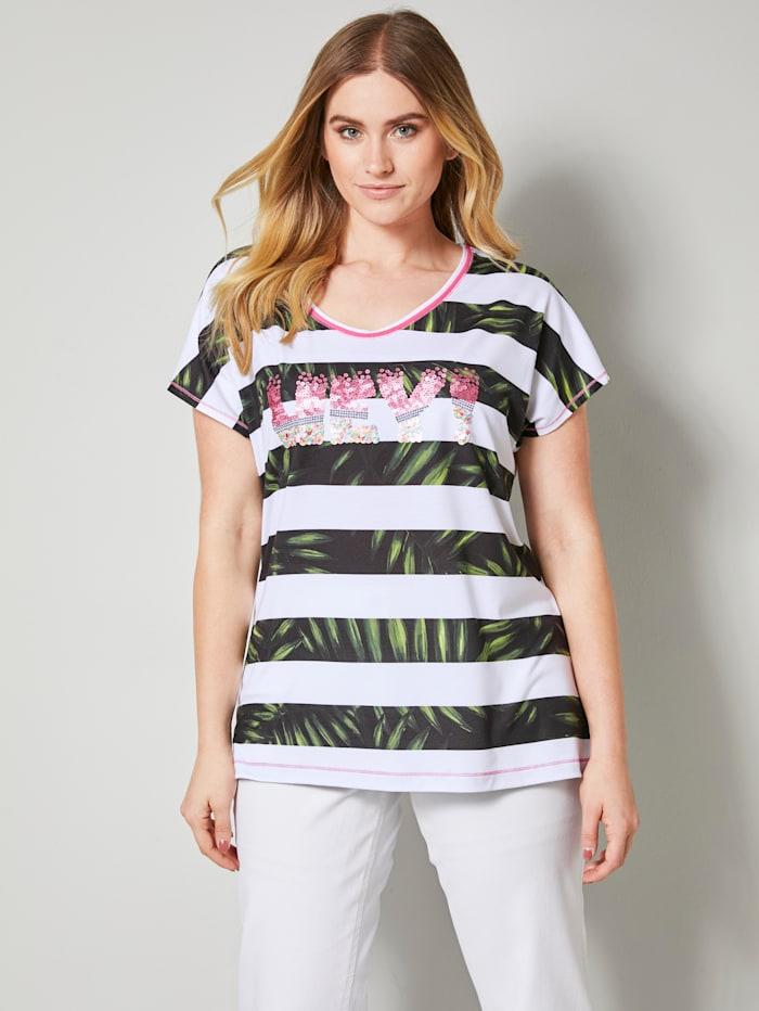 Sara Lindholm Shirt met pailletten, Wit/Kaki