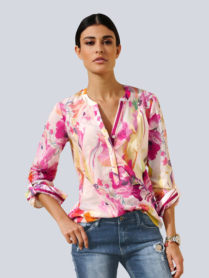 Alba Moda Bluse im farbenfrohen Aquarelldruck, Weiß/Gelb/Pink