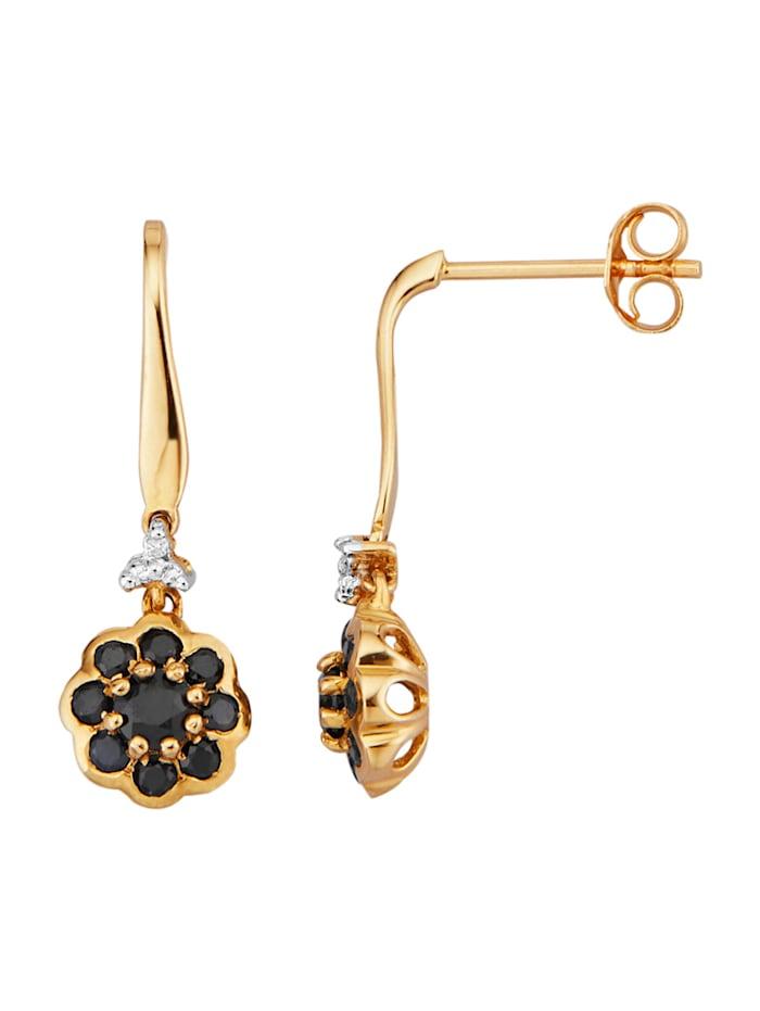 Diemer Farbstein Ohrringe mit Saphiren und Diamanten, Schwarz