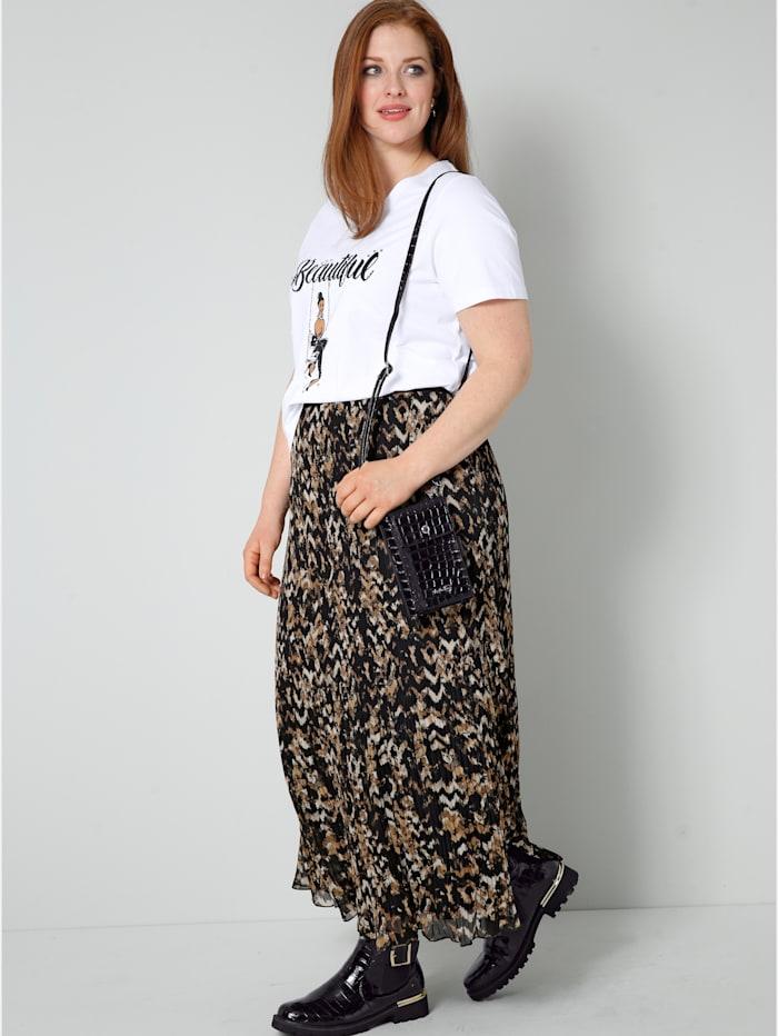 Sara Lindholm Shirt mit Printmotiv und Dekosteinchen, Weiß/Cognac/Schwarz