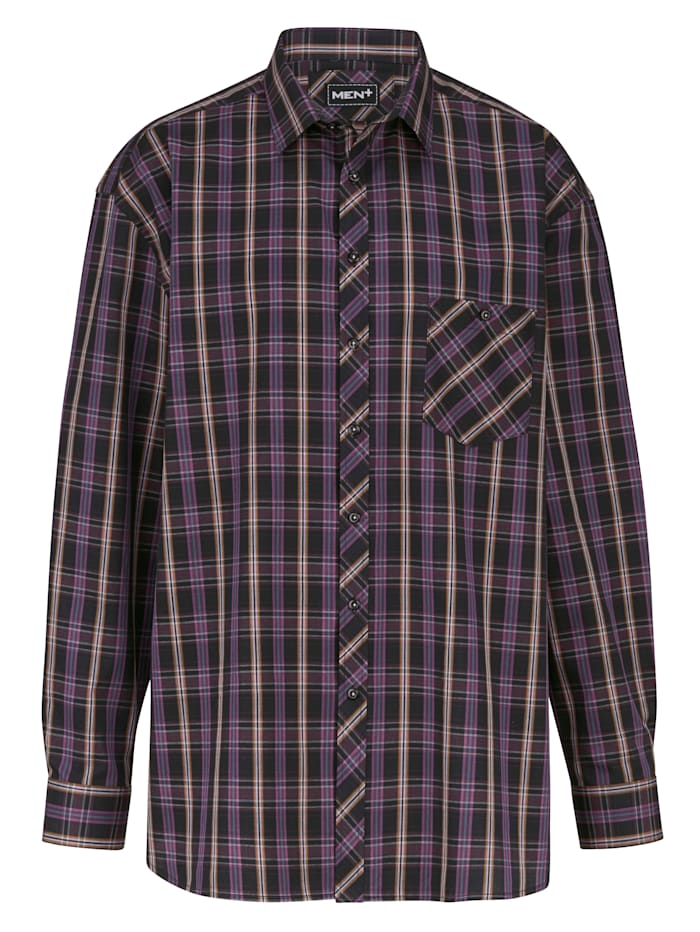 Men Plus Hemd Spezialschnitt, Cognac/Beere/Schwarz