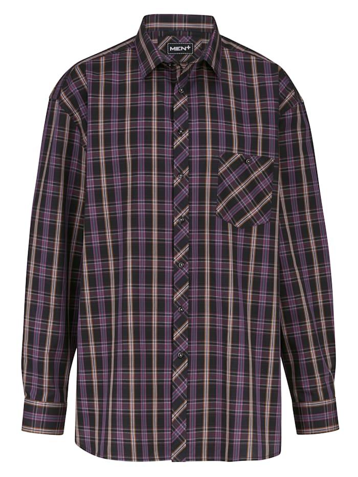 Men Plus Overhemd Speciale pasvorm, Cognac/Berry/Zwart