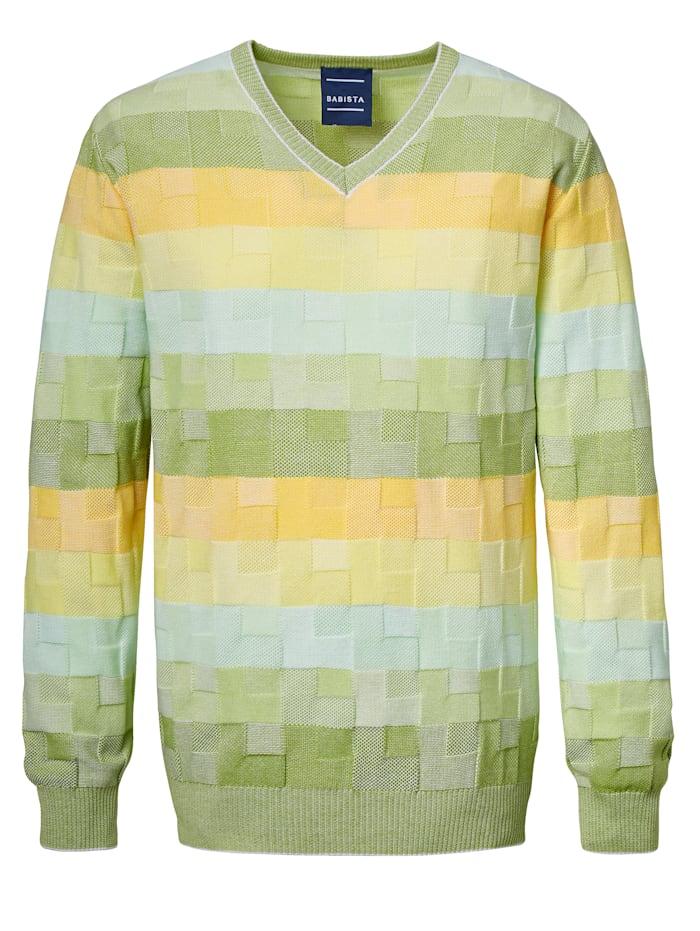 BABISTA Trui met een luxueus structuurpatroon, Groen/Geel
