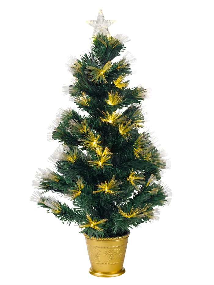 Julgran med LED-ljus och fiberglas, Guldfärgad