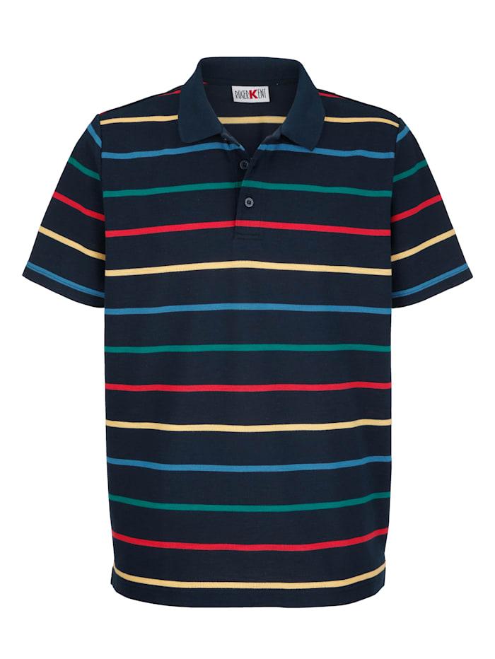 Roger Kent Poloshirt mit garngefärbtem Streifenmuster, Marineblau