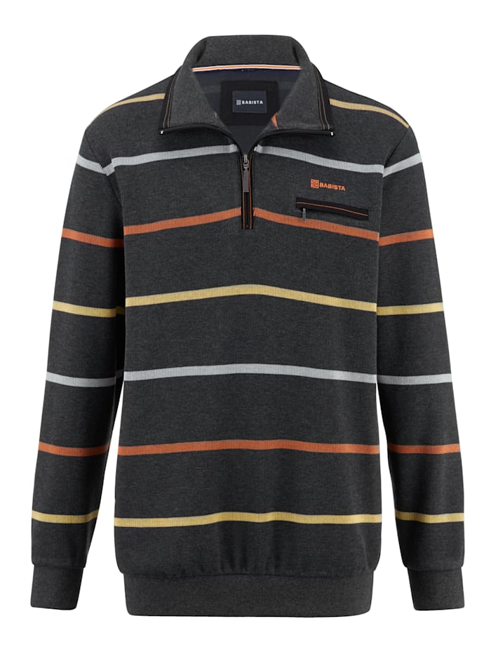 BABISTA Sweatshirt mit garngefärbtem Streifendessin, Anthrazit