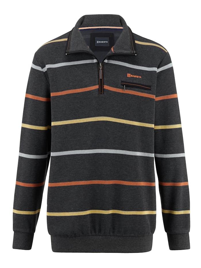 BABISTA Sweatshirt met ingebreid streepdessin, Antraciet