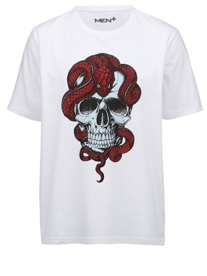 Men Plus T-Shirt mit Strasssteinzier, Weiß